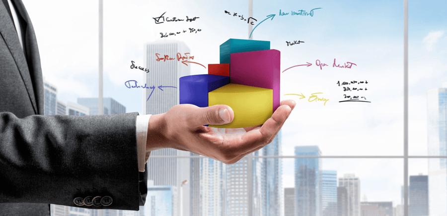 la-empresa-diversificada-empresario-con-diagrama-en-tres-dimensiones
