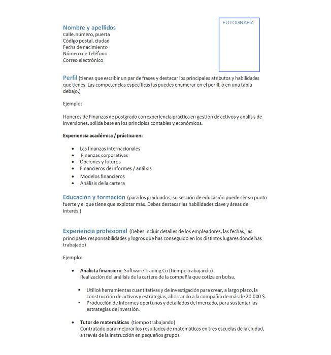 Curriculum vitae - DeFinanzas.com