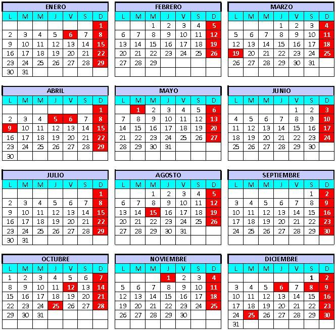 Calendario 2018 Gobierno
