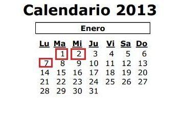 Calendario enero 2013 andalucía
