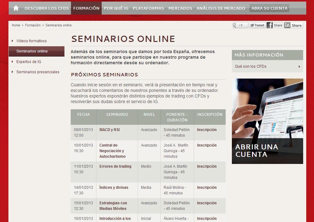 Seminarios online IG