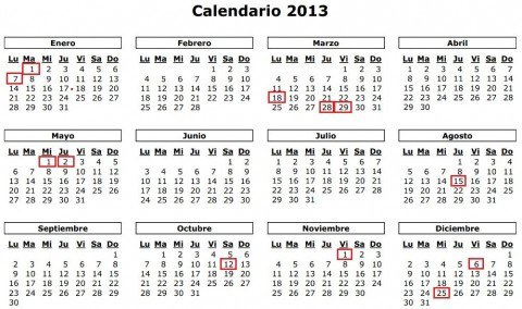 Calendario Laboral 2013 | New Calendar Template Site