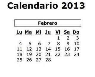 calendario laboral febrero 2013