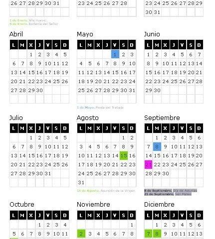 Calendario Laboral 2015 Asturias