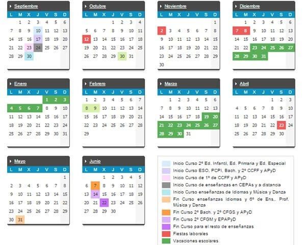 calendario escolar 2018-2019 comunidad valenciana