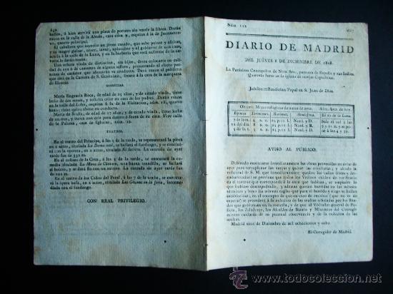Diario de Madrid, relatando los acontecimientos de 1808