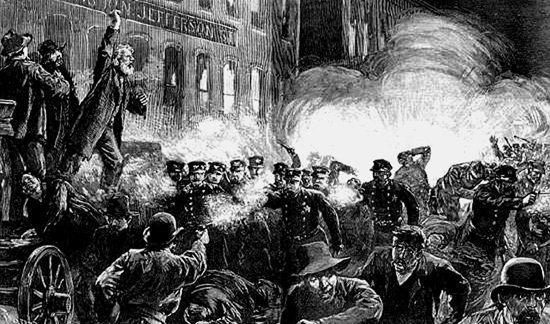 Grabado de la época sobre la revuelta de la plaza Haymarket