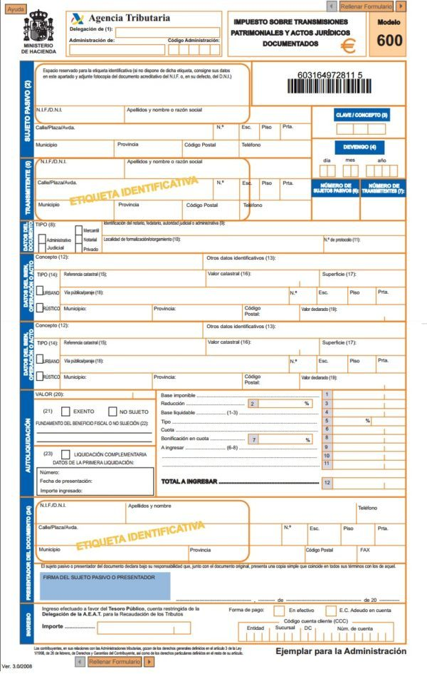 Modelo 600 para transmisiones patrimoniales c mo for Licencia de obras cuando es necesaria