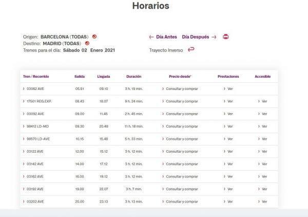 Renfe horarios trayectos precios 2021 ejemplo