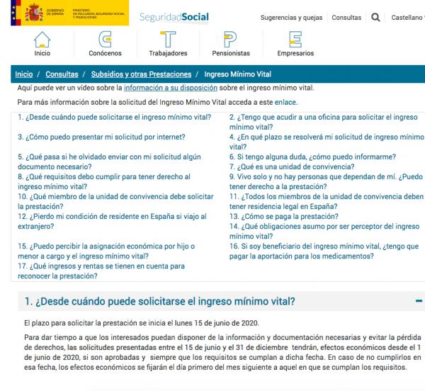 Requisitos para solicitar el Ingreso Mínimo Vital (IMV) a través de la Seguridad Social 2021 web
