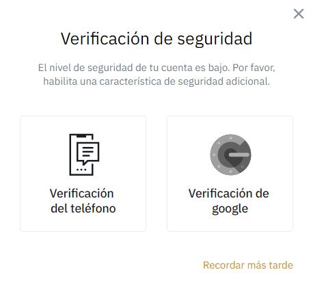 Verificacion seguridad Binance