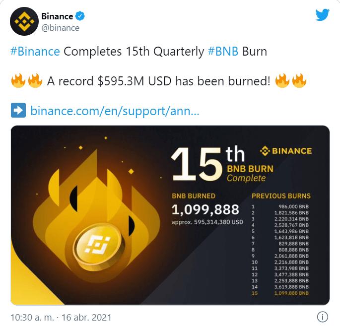 quema tokens BNB