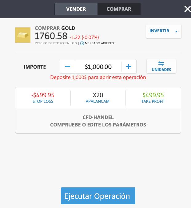 invertir 1000 euros en oro