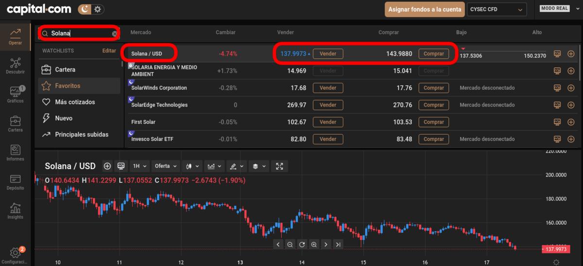Comprar Solana con Capital.com