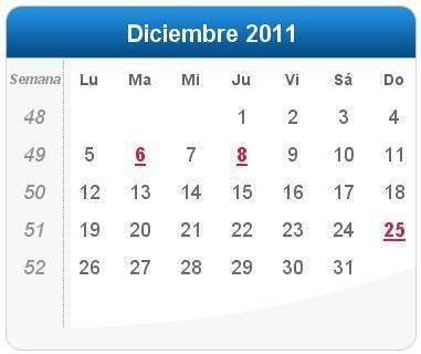 Calendario Diciembre.Calendario Diciembre 2011 Definanzas Com