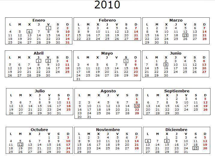 calendario 2010 Murcia