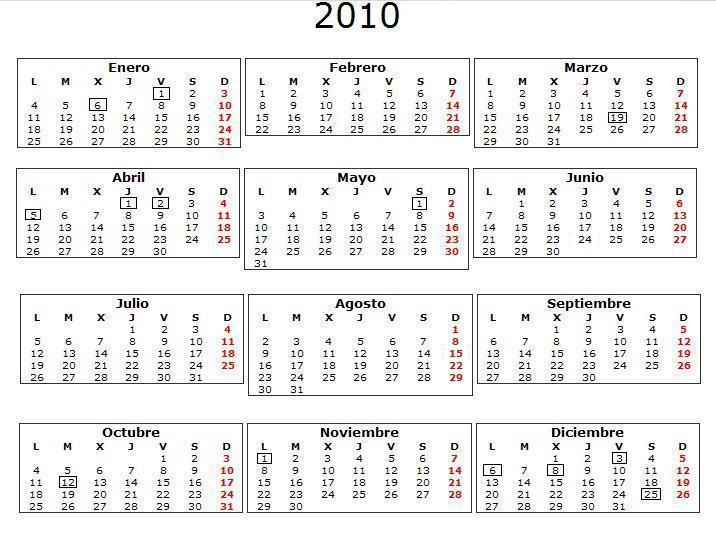 calendario 2010 Navarra