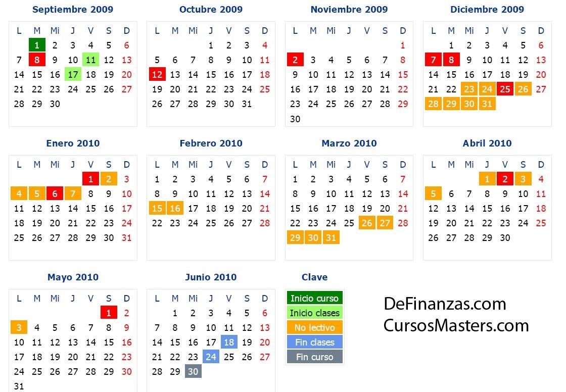 Calendario 2011 Espana.Calendario Escolar 2010 Curso 2009 2010 Definanzas Com